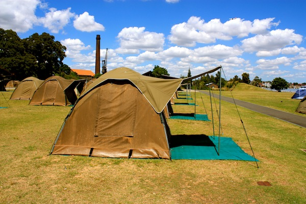 Tents on Cockatoo Island, Sydney, Australia