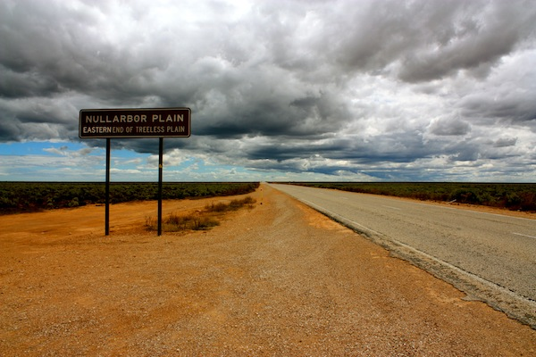Nullarbor Plain sign in South Australia, Nullarbor Traveller