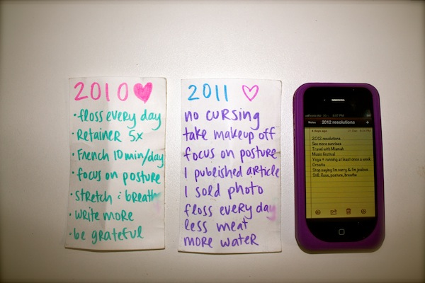 New year's resolutions for 2010, 2011, 2012