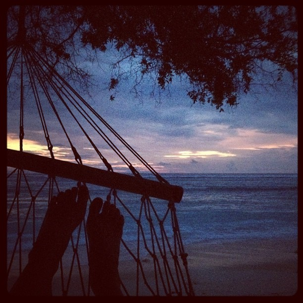Sunset view from hammock on Gili Trawangan, Indonesia