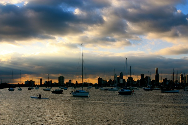Clouds over Melbourne CBD, view from St Kilda Harbour
