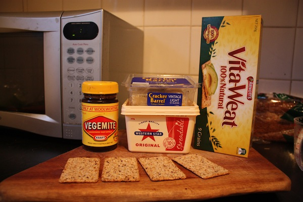 Vegemite, butter, cheddar cheese and Vitawheat crackers