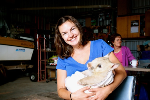 Christine Amorose with Polar, white wombat at Wombat Fauna and Rescue, Ceduna, South Australia