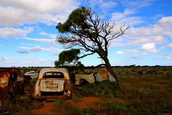 Broken car at Koonalda Homestead, Old Eyre Highway, Nullarbor campsite, Australia