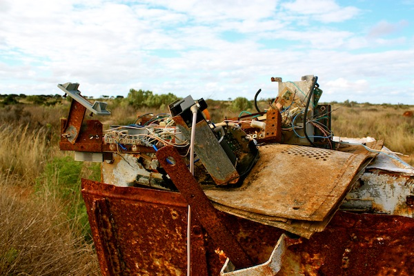 Broken appliance at Koonalda Homestead, Old Eyre Highway, Nullarbor campsite, Australia