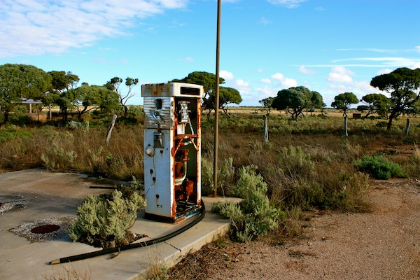 Gas pump at Koonalda Homestead, Old Eyre Highway, Nullarbor campsite, Australia