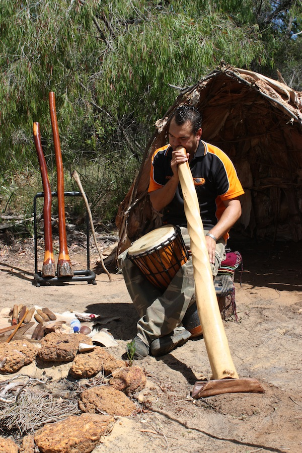 Josh playing didgeridoo, Aboriginal Experience, Yallingup