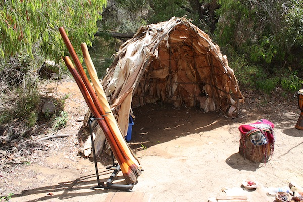 Aboriginal hut, tools and instruments, Yallingup, Western Australia