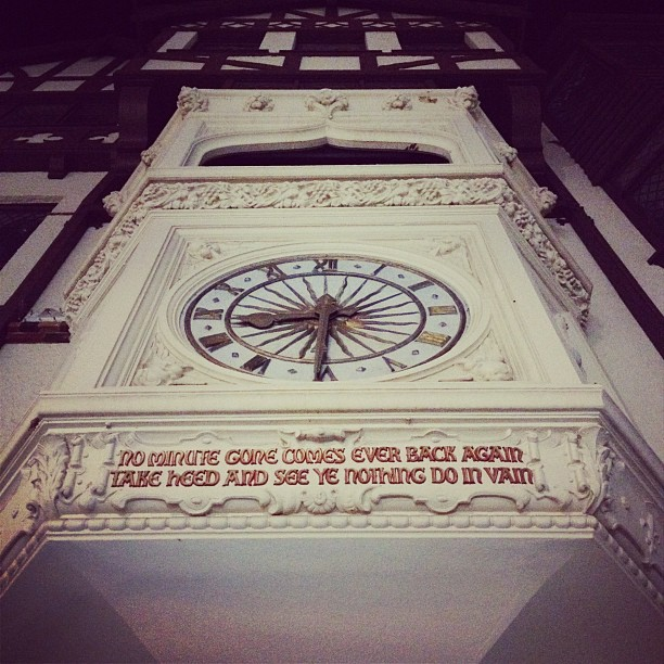 London Court clock and quote, Perth, Western Australia