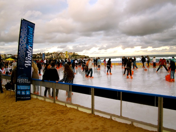 Ice skating at Bondi Beach, Sydney winter festival, Australia