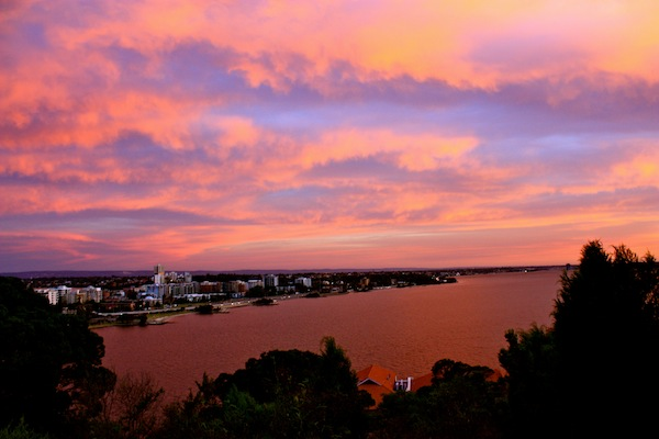 Beautiful pink sky sunset from Kings Park, Perth, Western Australia