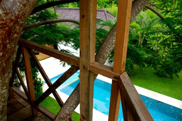 Pool and treehouse in villa in Seminyak, Bali, Indonesia