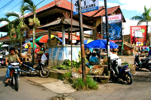 View of Ubud market from a motorbike tour, Bali, Indonesia
