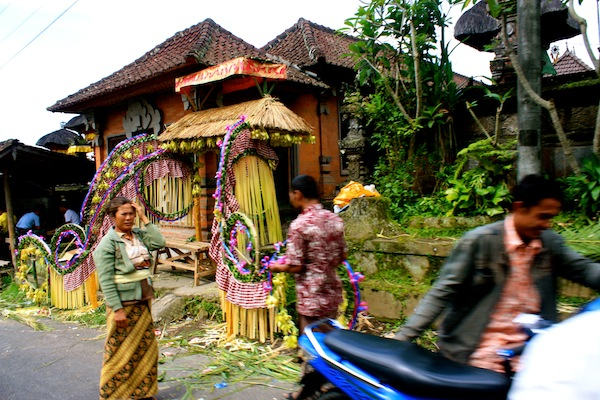 View of a Balinese wedding from a motorbike, Bali, Indonesia