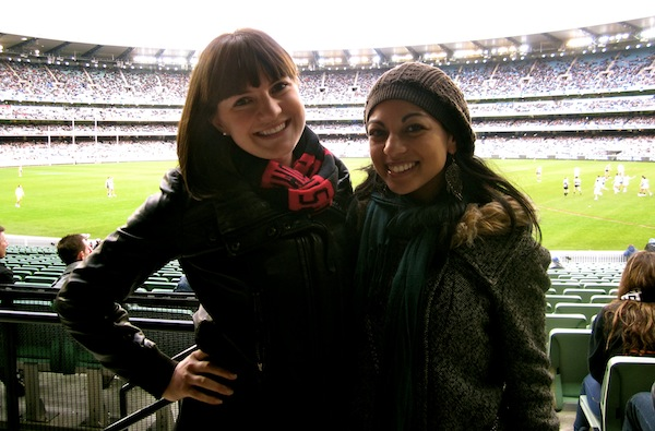 Christine Amorose & Esther Assaad at an Essendon Bombers AFL game, Melbourne