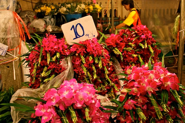 Pink and red blooms at 24-hour Bangkok Flower Market, Thailand