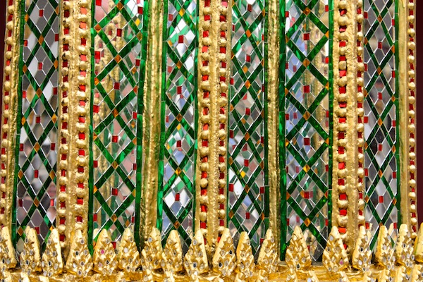 Colored glass detail at the Grand Palace in Bangkok, Thailand