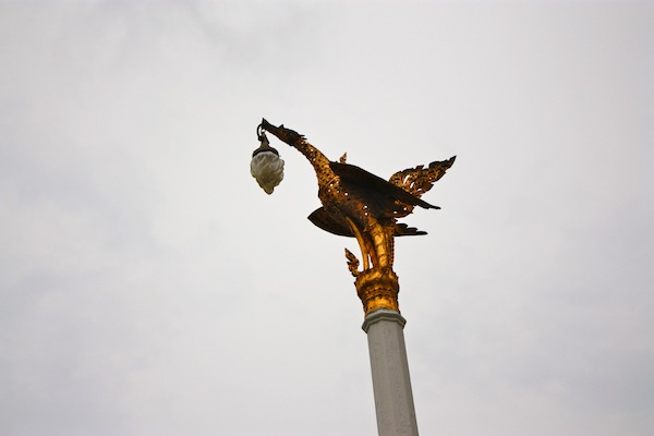 Golden Bird light fixture at at the Grand Palace in Bangkok, Thailand