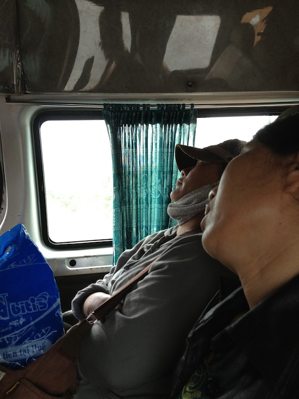 Woman snoring on local bus in Vietnam
