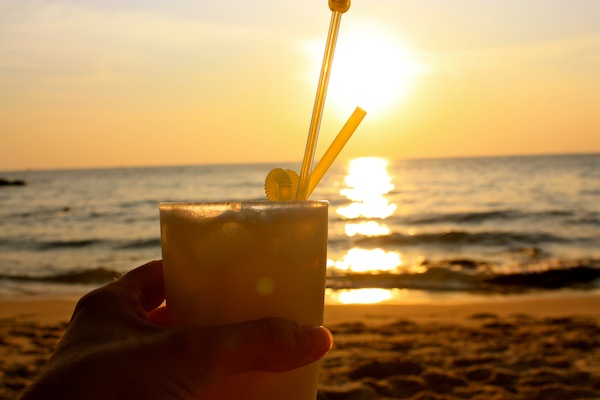 Pina Colada at sunset on Pho Quoc, island in South Vietnam