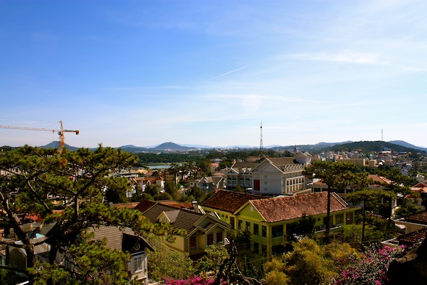 View of Dalat's house and Central Highlands from Crazy House in Dalat, Vietnam