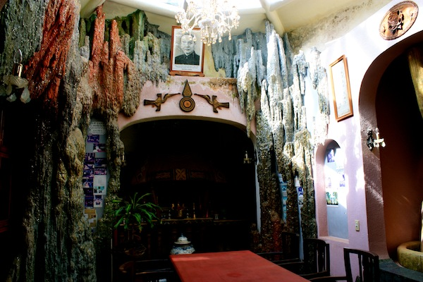 Dining room and fireplace in Crazy House in Dalat, Vietnam