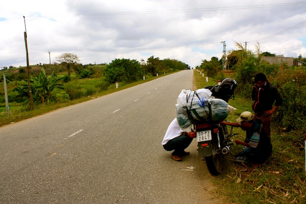 Broken down motorcycle in the Central Highlands, Vietnam