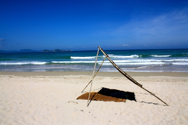 Straw mat and shelter at Jungle Beach Resort, Nha Trang, Vietnam