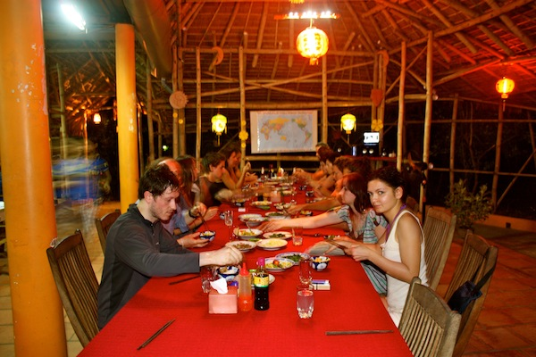 Family style dinner at Jungle Beach Resort, Nha Trang, Vietnam