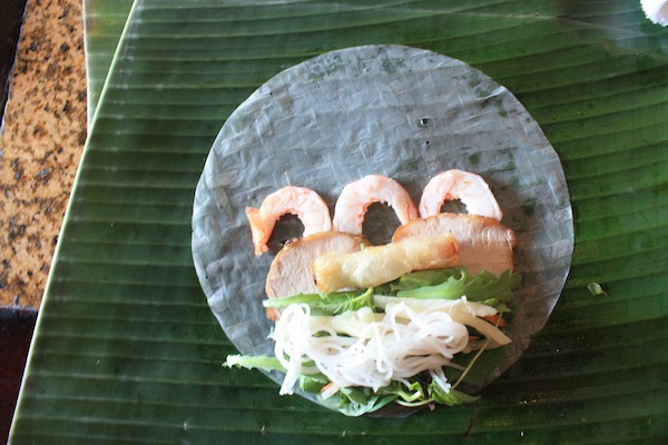 Rice paper rolls with sweet and sour sauce at Morning Glory Cooking Class, Hoi An, Vietnam
