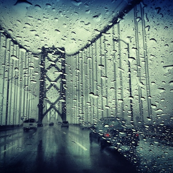 Bay Bridge in the rain, San Francisco, California