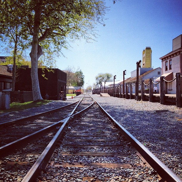 Railroad tracks in Old Sacramento, California