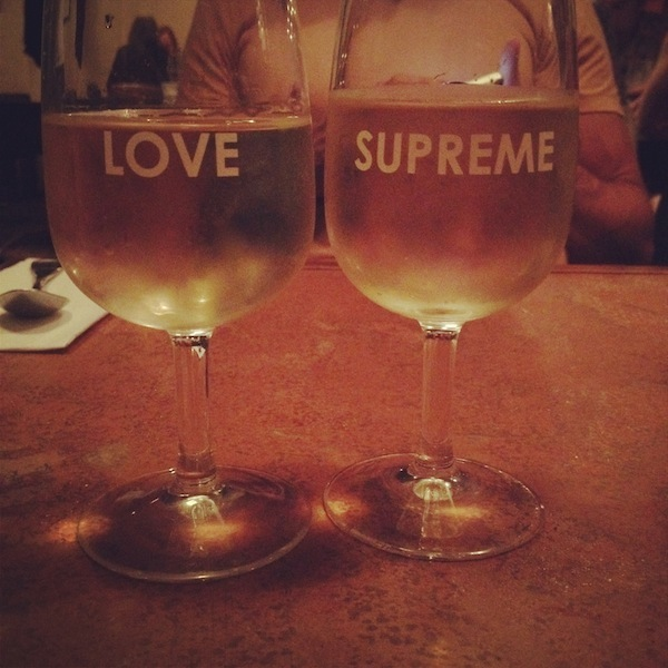 Glasses of white wine at Love Supreme in Sydney, Australia