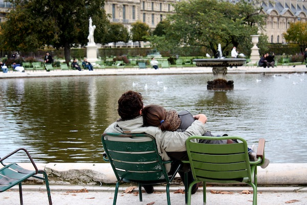Couple at Tuileries in Paris, France on a chilly day
