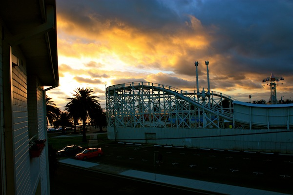 Sunset over Luna Park in St Kilda, Melbourne, Australia from my balcony
