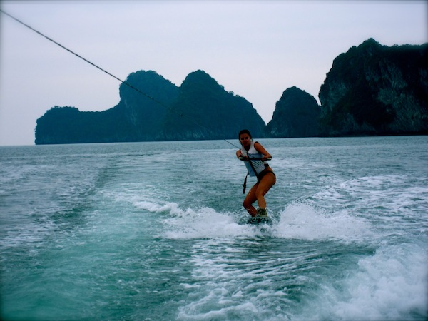 Christine Amorose wakeboarding in Halong Bay with Rock Long, Rock Hard in Vietnam