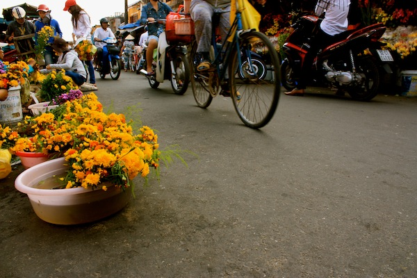 Bicycle riding by flowers on the street in Hoi An, Vietnam