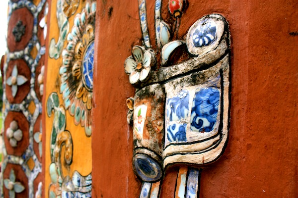Scroll of porcelain art mosaic at Hue Imperial City Citadel, Vietnam