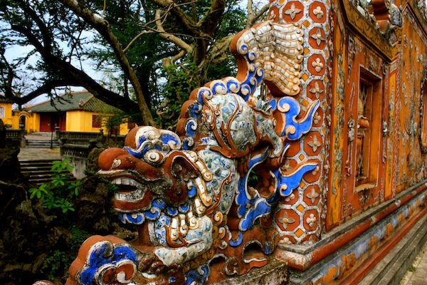 Dragon made of mosaic at Hue Imperial City Citadel, Vietnam