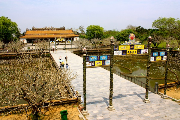 Open courtyard and temple at Hue Imperial City Citadel, Vietnam