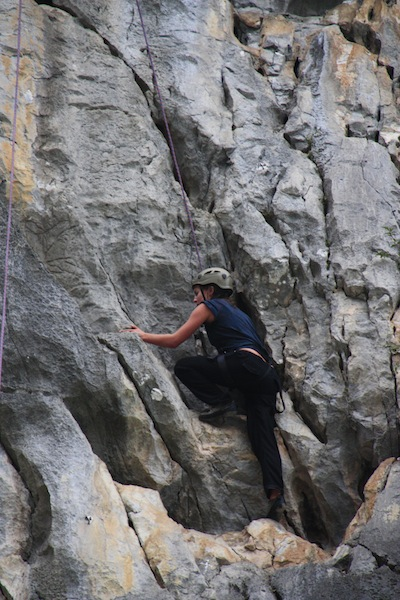 Rock climbing on Castaway Island with the Rock Long, Rock Hard Halong Bay Tour