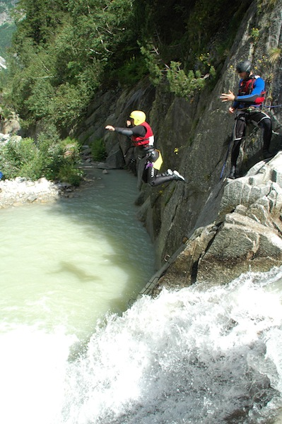 Christine Amorose canyoning in Interlaken, Switzerland