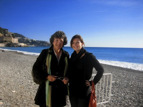 Christine Amorose and mom Linda Paist in Nice, France in 2008