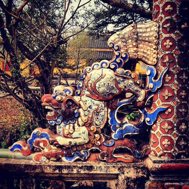Dragon statue at the Imperial City of Hue in Vietnam