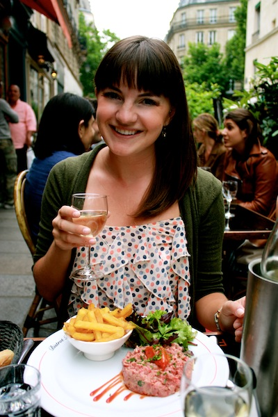 Christine Amorose enjoying steak tartare in the Sixth in Paris, France