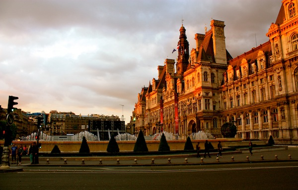 Hotel de Ville at sunset in Paris, France