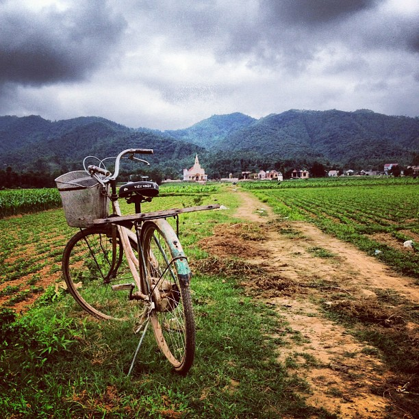 Bicycle in front of rice paddies and church in Phong Nha, Vietnam