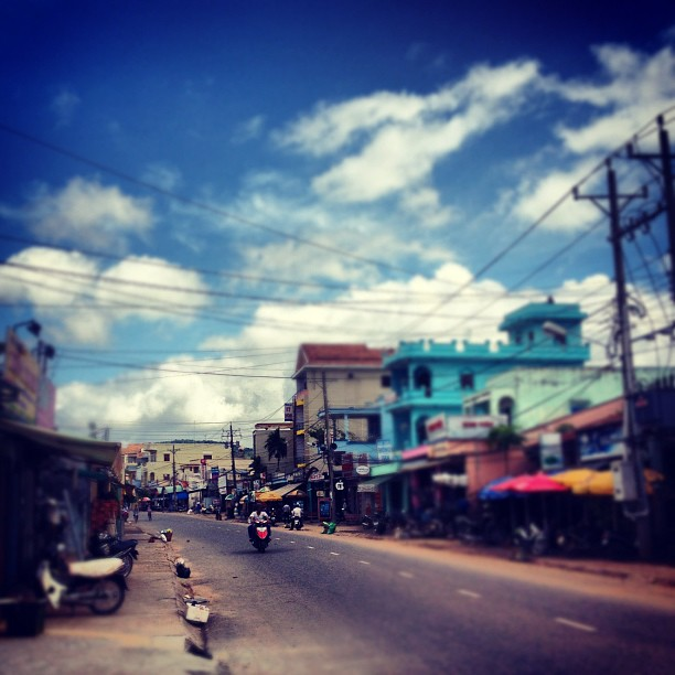 Blue skies and colorful buildings on island of Phu Quoc, Vietnam