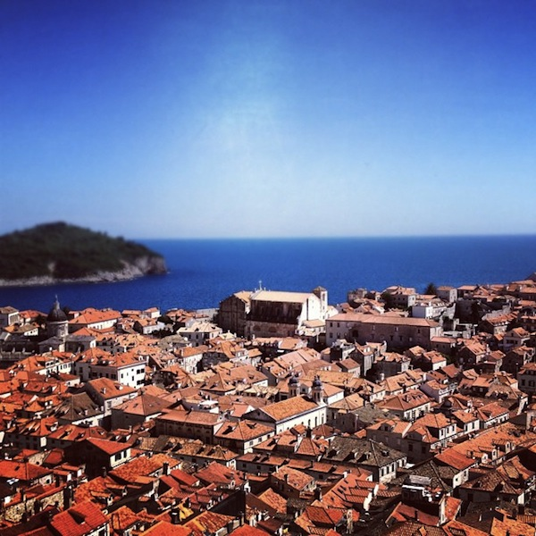 Red roofs and blue skies of Dubrovnik, Croatia on a sunny day