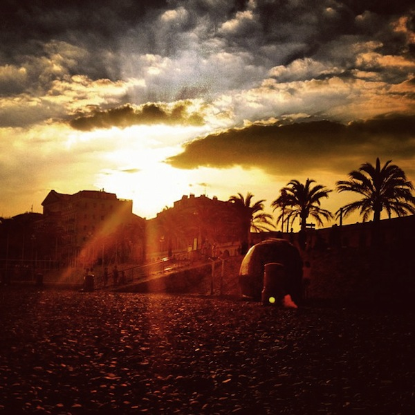 Sunset over the beach in Nice, France